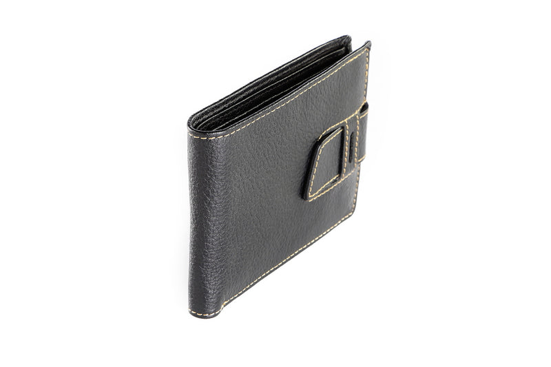 Leather Bootstrap Black Wallet