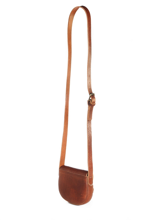 Petite Tan Leather Saddlebag