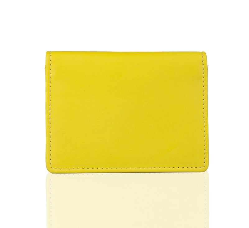 Lime Leather Card Holder Wallet