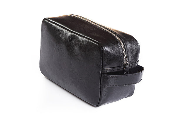 Leather Wash Bag Black