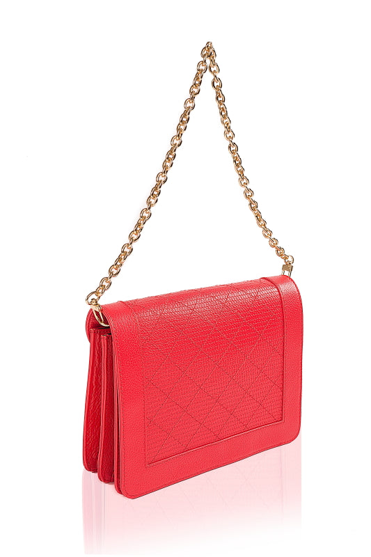 Blossom Red Leather flap handbag