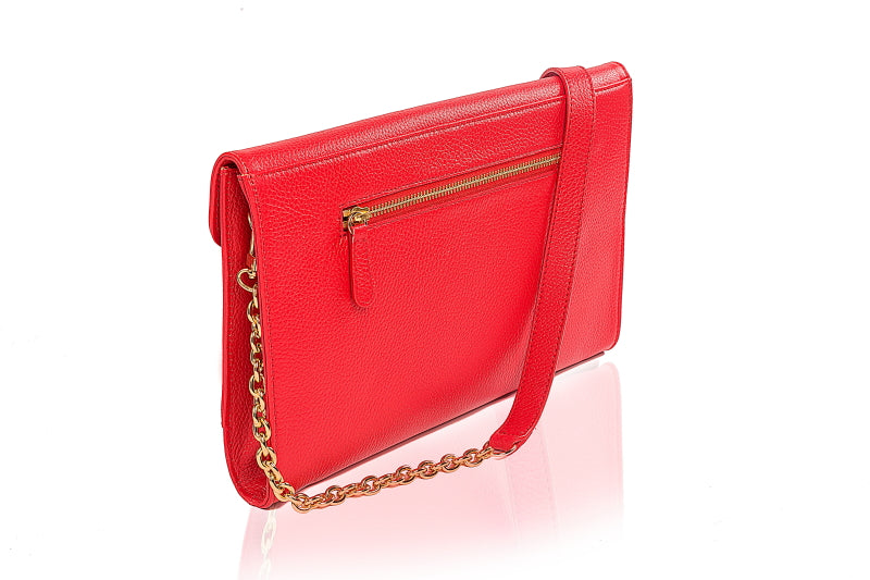 Dahlia Red Leather Clutch