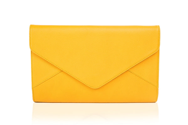 Dahlia Yellow Leather Clutch