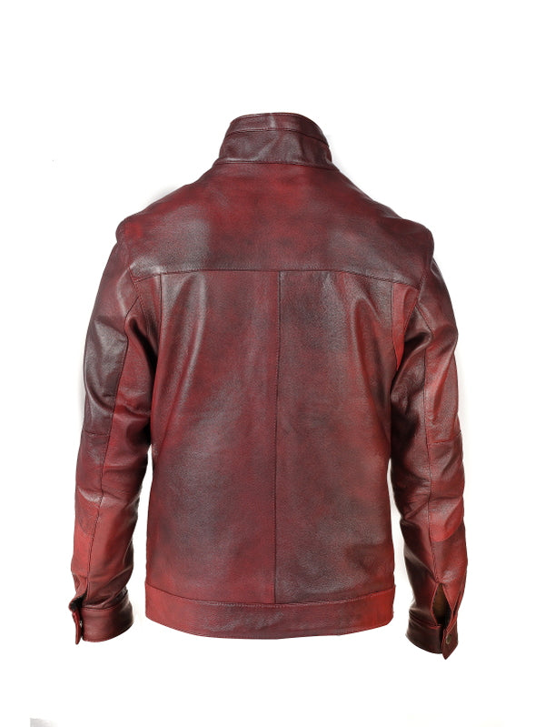 Mens Nappa Leather Jacket with Front Zippered Pockets (PETER)
