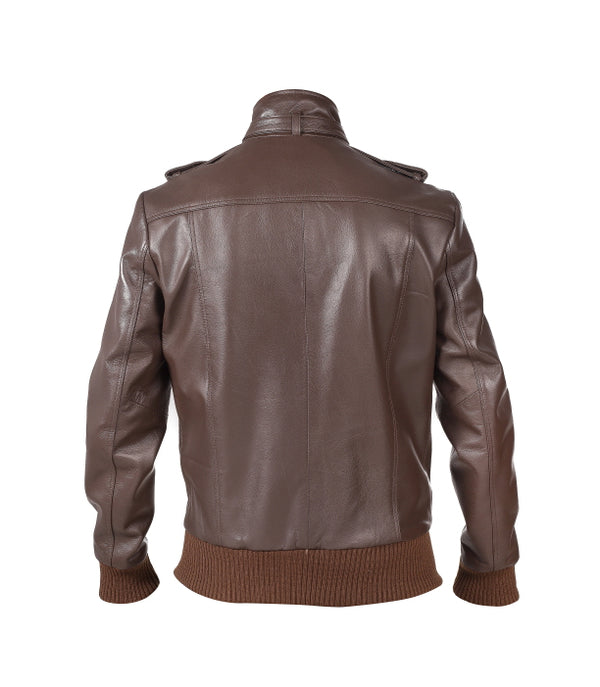Mens Nappa Leather Jacket with Epaulettes, Ribbed Waist & Sleeves