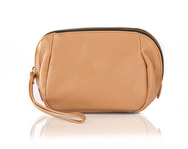 Lily Wristlet Brown Leather Pouch