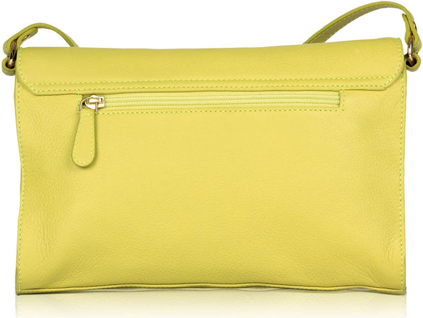 Shoulder Striper Leather Yellow Bag