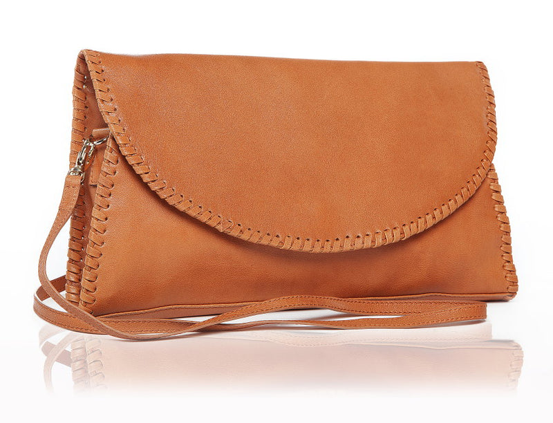 Classic Tan Leather Flap Purse