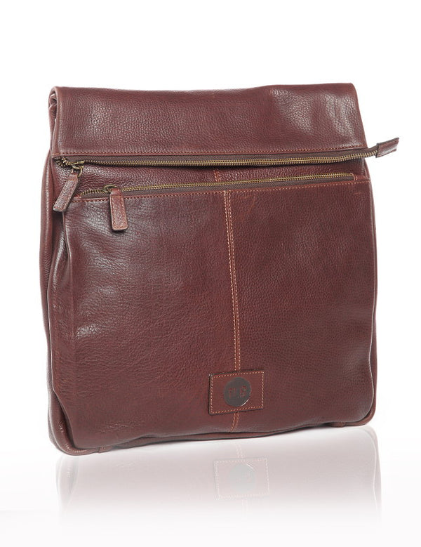 Tudor (Deep Earth) Leather Messenger Bag