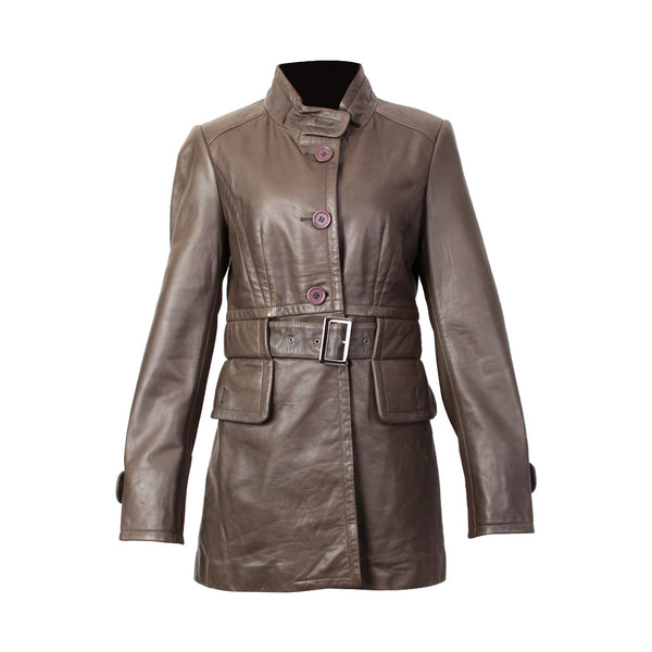 Women's Long Leather Jacket - TLB - The Leather Boutique