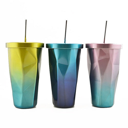 Ombre Stainless Steel Tumbler with Straw