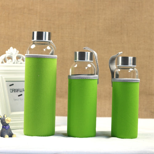 Glass Sport Water Bottle With Protective Sleeve | GetThirsty
