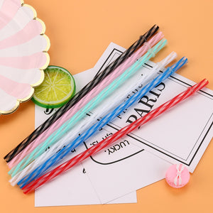 Reusable Hard Plastic Stripe Drinking Straws | GetThirsty