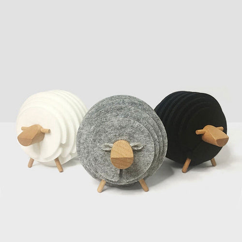 Creative Felt Sheep Coaster Set | GetThirsty