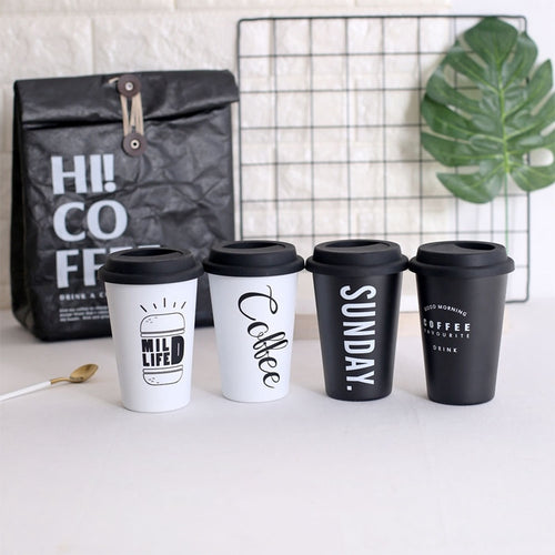 Reusable Travel Mug in Black & White | GetThirsty
