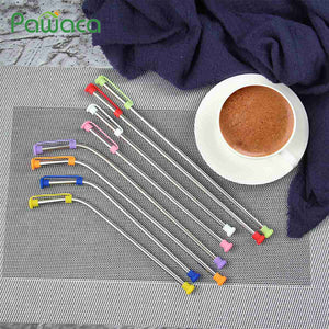 4 Piece Reusable Stainless Steel Straw Set with Cleaning Brush and Protective Tip