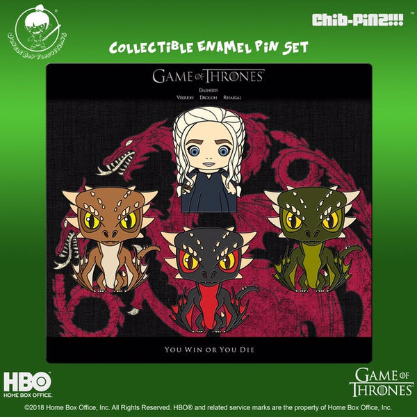 Chib-Pinz Game of Thrones Enamel Pin set - Danaerys, Drogon, Rhaegal and Viserion