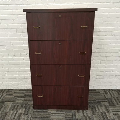Mahogany Four Drawer Lateral File Cabinet