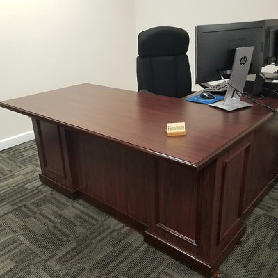 Senior Executive Workstation with Left Return Mahogany