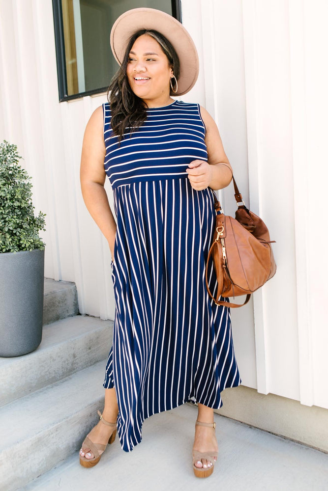 Beach Day Dress In Navy