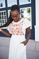Julia Embroidered Midi Dress