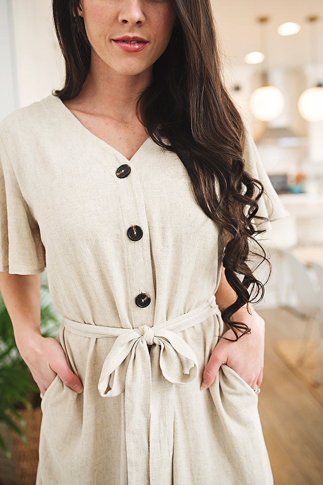 Calista Ruffle Linen Dress - Copper Sky Boutique