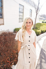 Calista Ruffle Linen Dress