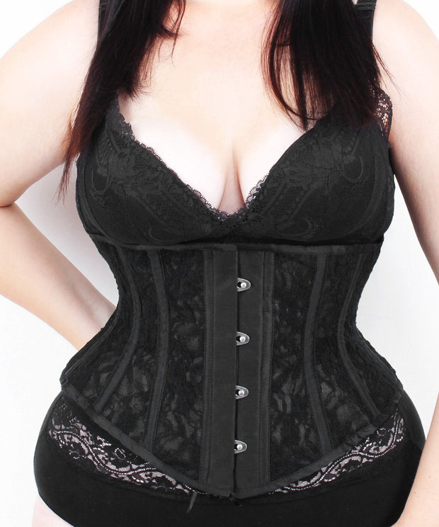 Plus Size Underbust Black Mesh with Lace Waspie Corset