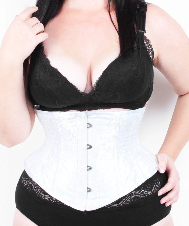 Waist Trainer Plus Size White Brocade Waspie Corset