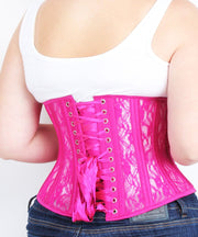 Underbust Fuchsia Mesh with Lace Standard Corset
