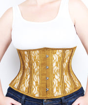 Underbust Plus Size Gold Mesh with Lace Standard Corset