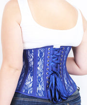 Plus Size Underbust Blue Mesh with Lace Standard Corset