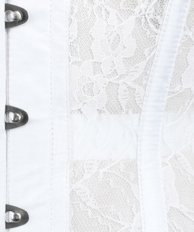 Underbust Plus Size White Mesh with Lace Standard Corset