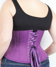 Underbust Plus Size Purple Duchess Satin Corset