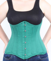Underbust Plus Size Green Duchess Satin Long Corset