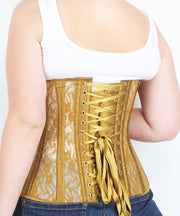 Underbust Gold Mesh with Lace Long Corset