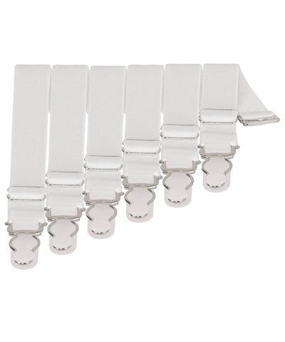 6 x Steel Suspender Clips in White