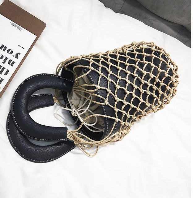 Beach bag nets bucket bags hollow Braided rope net bag women summer totes bag