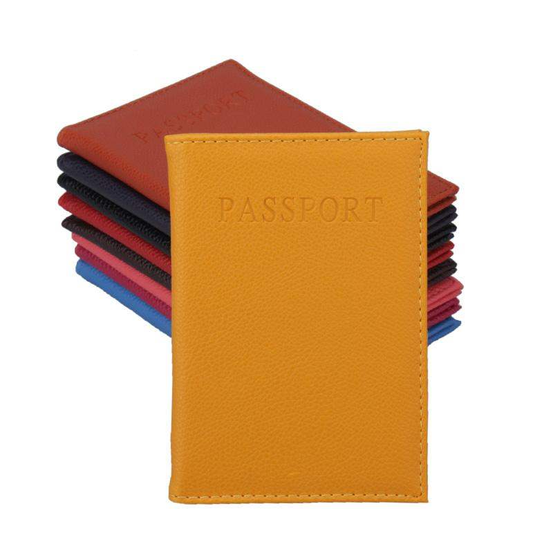 Candy color PU passport holder ID credit card ticket travel passport cover folder bag protective holder