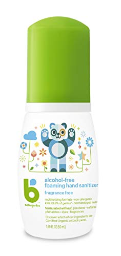 Babyganics Alcohol-Free Foaming Hand Sanitizer, On-The-Go, Fragrance Free, 1.69 oz, 6 Pack, Packaging May Vary