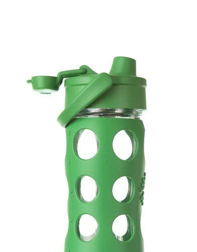 Lifefactory 16-Ounce BPA-Free Glass Water Bottle with Flip Cap and Protective Silicone Sleeve, Grass Green