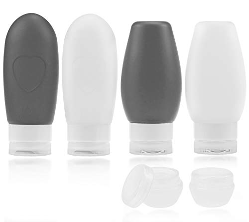 Urvoix Travel Bottles, Travel Size Containers - 3 oz Leakproof Silicone Refillable Squeezable Tube with TSA Quart Bag for Shampoo Conditioner Lotion Hand Sanitizer(4 Pack)