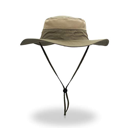 EONPOW Windproof Fishing Hats UPF50+ UV Protection Sun Cap Outdoor Bucket Mesh Hat 56-61cm Dark-Khaki