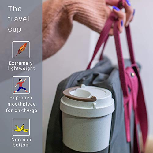 bioGo Cup | Rice Husk Fibre | BPA-Free, Double Wall Insulation Reusable Coffee Cups | Office, Car, On-The-Go Travel Mug | Screw Tight Lid, Secure Mouthpiece | Textured Grip | (Gray, 16oz)