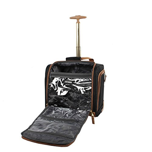 Steve Madden Designer Luggage Collection- 3 Piece Softside Expandable Lightweight Spinner Suitcases- Travel Set includes Under Seat Bag, 20-Inch Carry on & 28-Inch Checked Suitcase (Harlo Black)