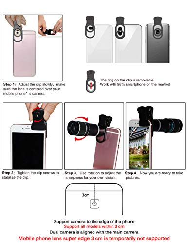 Cell Phone Camera Lens Kit,11 in 1 Universal 20x Zoom Telephoto Lens,0.63Wide Angle+15X Macro+198°Fisheye+2X Telephoto+Kaleidoscope+CPL/Starlight/Eyemask/Tripod/Remote,for Most Smartphone (Black)