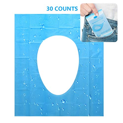 Disposable Toilet Seat Covers - 30 Counts Travel Set Waterproof Individually Wrapped Portable Travel Toilet Seat Covers for Adults Kids Toddler Potty Training Public Toilet Cruise Plane Train, 3 Packs