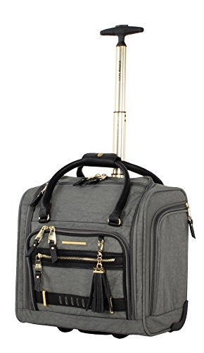 Steve Madden Designer Luggage Collection- 3 Piece Softside Expandable Lightweight Spinner Suitcases- Travel Set includes Under Seat Bag, 20-Inch Carry on & 28-Inch Checked Suitcase (Peek-A-Boo Grey)