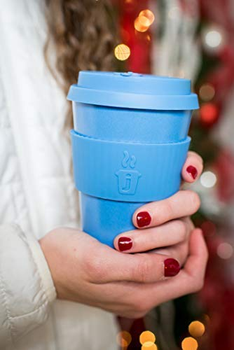 Premium Reusable Coffee Cup for Travel To Go 12oz | Takeaway Bamboo Mug with Lid & Spill Stopper | Plastic & BPA Free | Dishwasher Safe Portable Eco Cup | Organic Bamboo Fiber | Blue