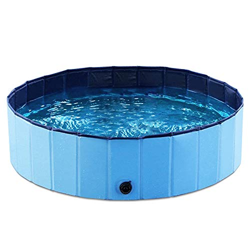 Jasonwell Foldable Dog Pet Bath Pool Collapsible Dog Pet Pool Bathing Tub Kiddie Pool for Dogs Cats and Kids (32inch.D x 8inch.H, Blue)